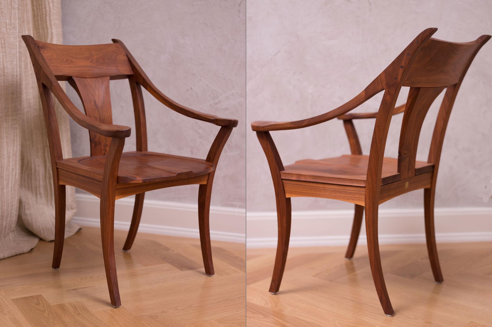 ... Antike Stühle Und Die Sessel Von Sam Maloof. Dieser Lehnsessel Entstand  Aus Der Freude An Der Geschwungenen Linie, Der Begeisterung Für Den  Übergang Der ...